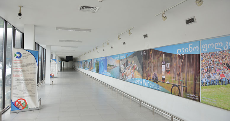 Photos representing the tourism potential of Georgia at Sarpi border checkpoint